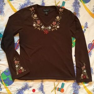 VTG 90s Floral Embroidered V Neck T Shirt